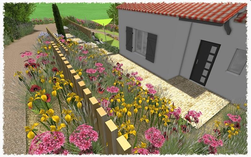 simulation jardin en fleur