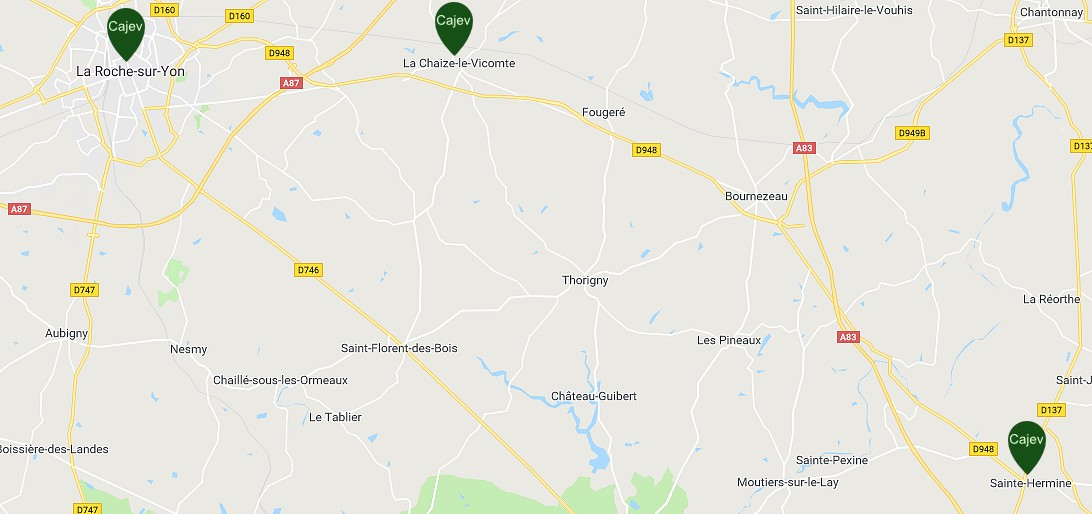 plan des sites CAJEV en Vendée